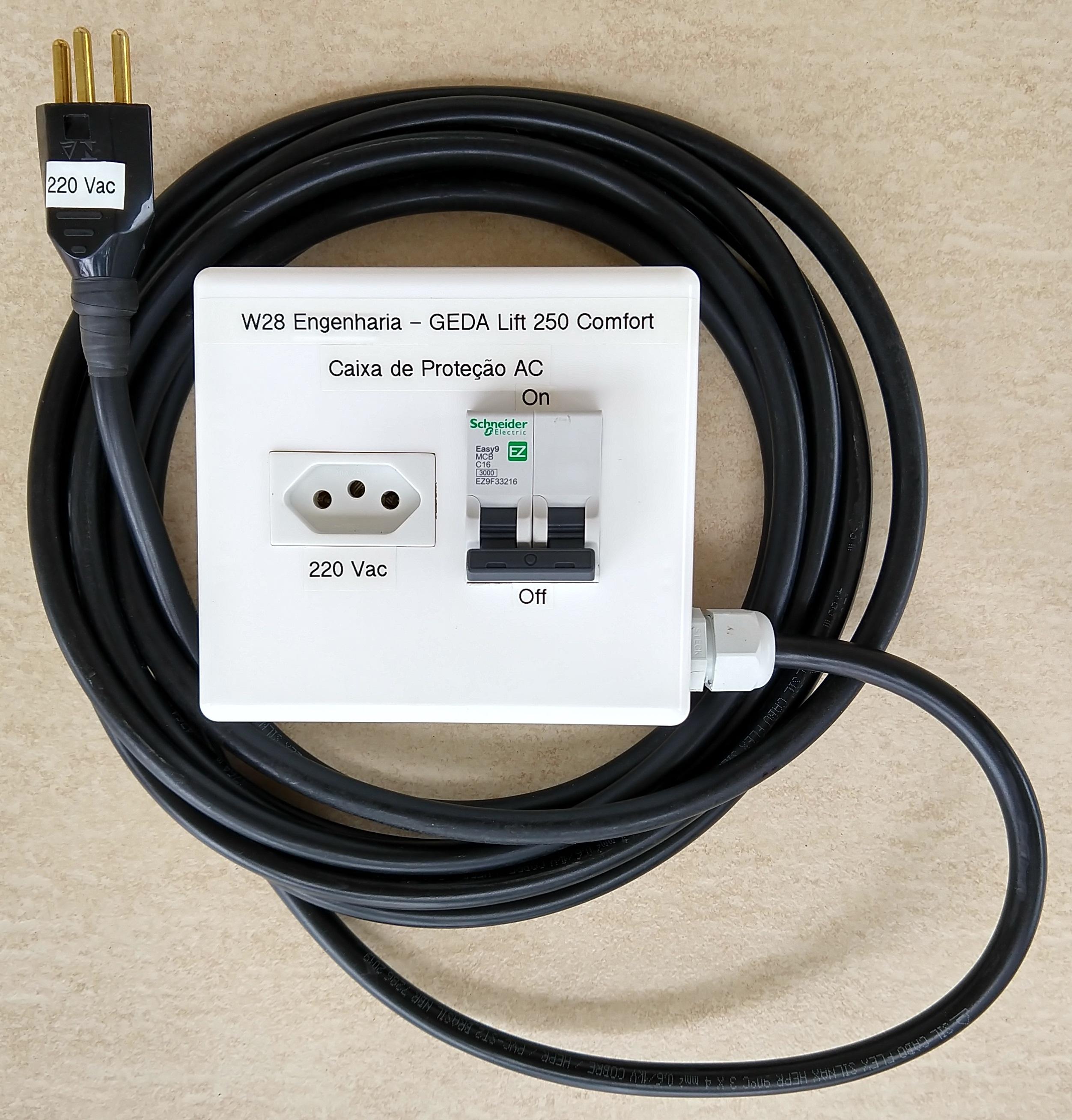 Caixa de Proteção AC para Conexão Elétrica do Guincho do Elevador Inclinado GEDA Lift 250 Comfort